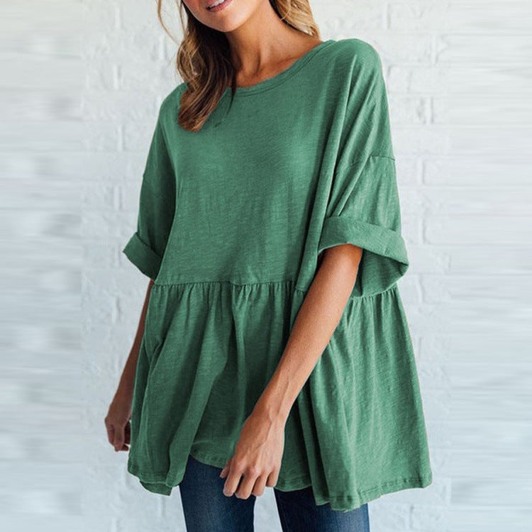 Casual Round Neck  Summer Blouses