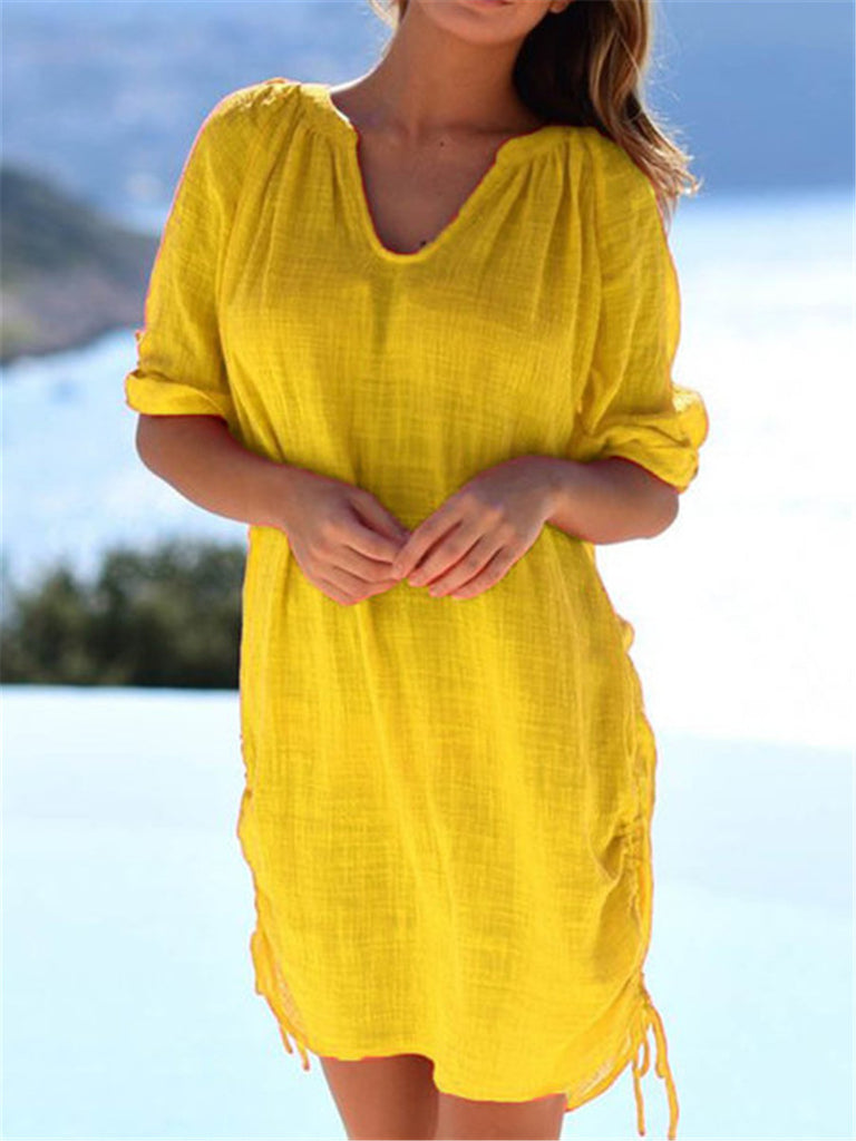 Summer Loose Solid Color Plus Size Dress