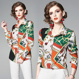 Fashion Floral Print Long Sleeve Blouses