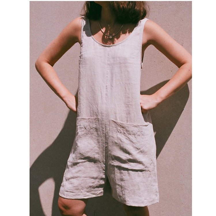 Solid Color Cotton and Linen Buttoned Jumpsuit