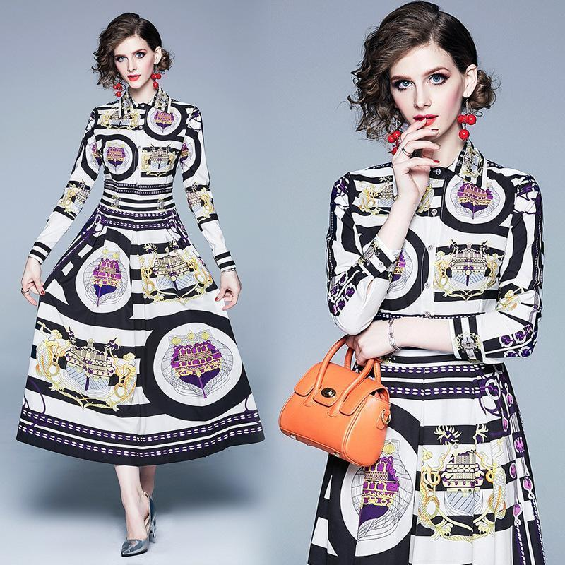 Retro Lapel Fashion Print Long Sleeve Slim Dress