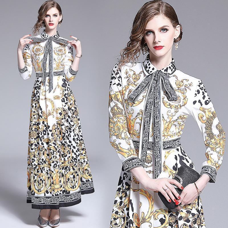 Lapel Fashion Print Slim Retro Maxi Dress