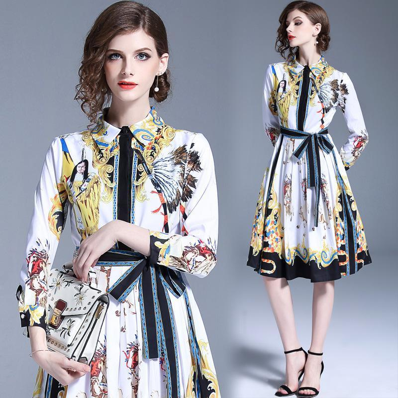 Fashion Court Print Lapel Long Sleeve Tie Waist Midi Dress