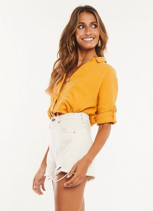 Solid Color BF Casual Blouses
