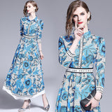Printed Lapels Slim Long Dress