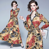 Fashion V-neck Long-sleeved Printed Slim Long Dress