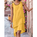 Sleeveless Round Neck Stitching Cotton and Linen Multi-layer Hem Dress