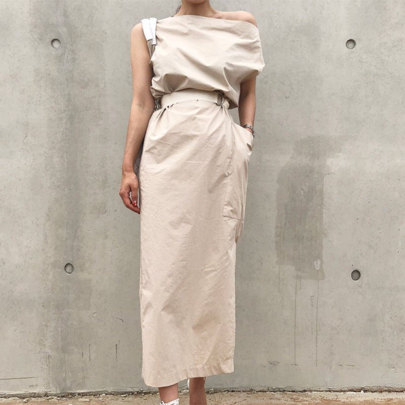 Boat Neck Hem Split Maxi Dress
