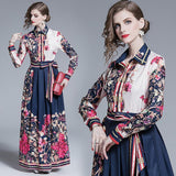 Fashion Printed Lapel Long Sleeve Slim Joker Dress