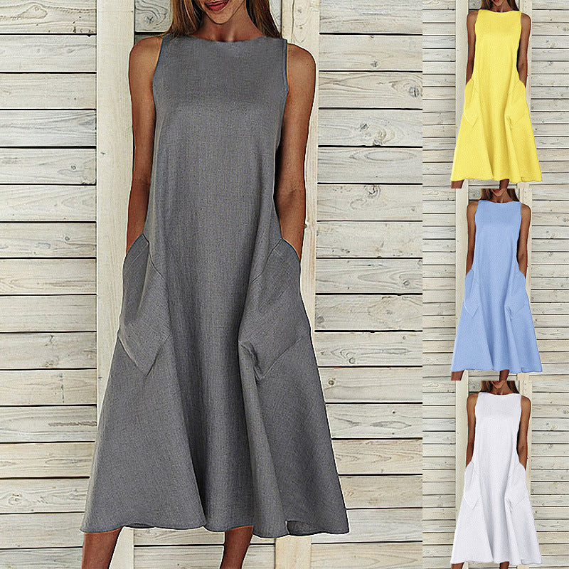 Plus Size Sleeveless Casual Loose Midi Dresses