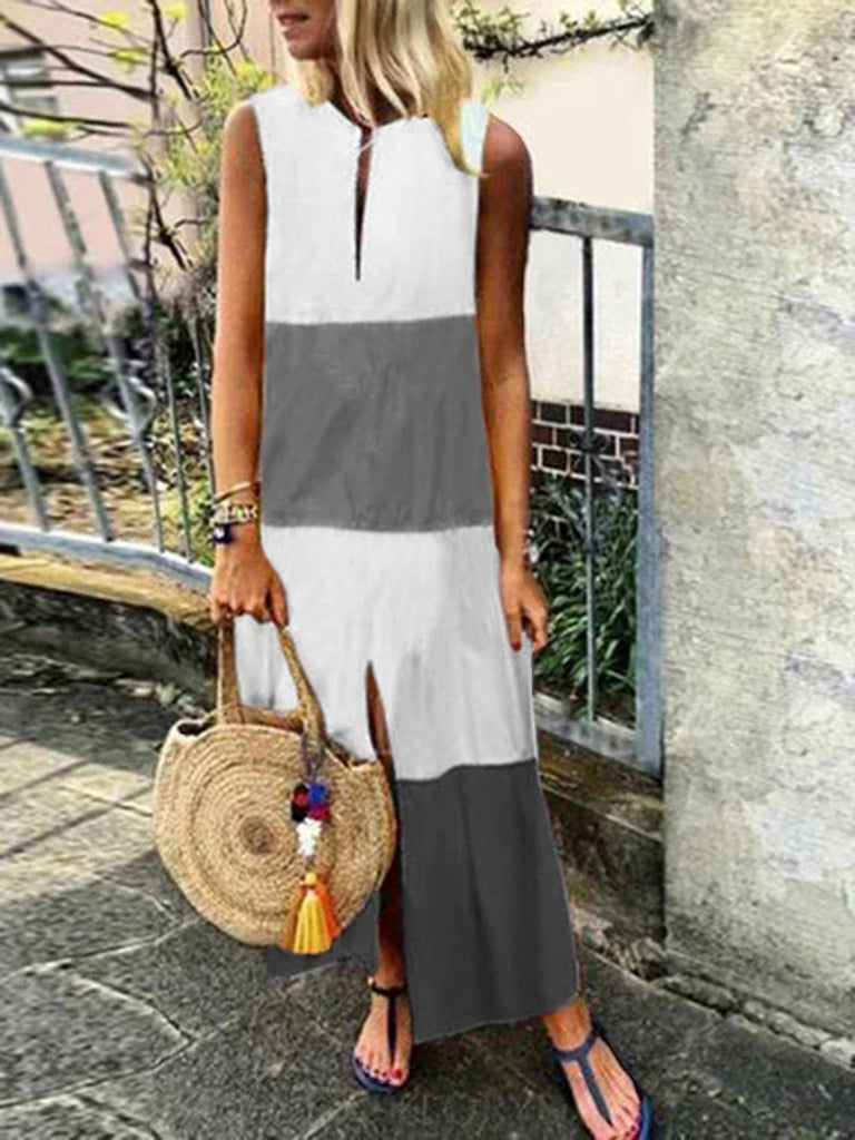 Loose V Neck Sleeveless Summer Dress