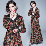Retro V-neck Long-sleeved Fashion Print Slim Dress