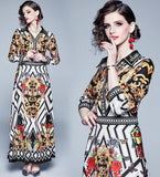 Vintage print  large swing  slim  temperament dress
