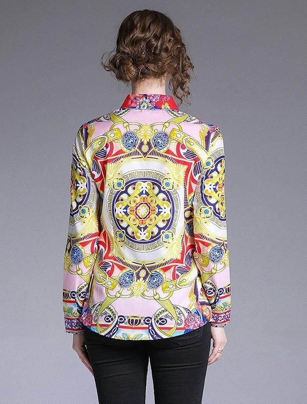 Retro Floral Print Long Sleeves Blouses