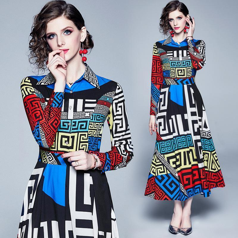 Lapel Long Sleeve Geometric Print Slim Dress