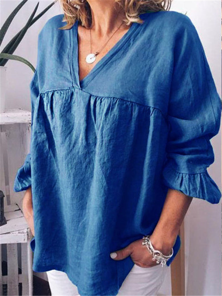 Plus Size Linen Long Sleeves Casual Blouse