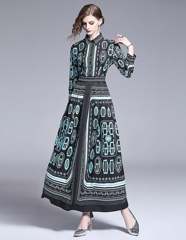 Fashion Print Slim Long Dress