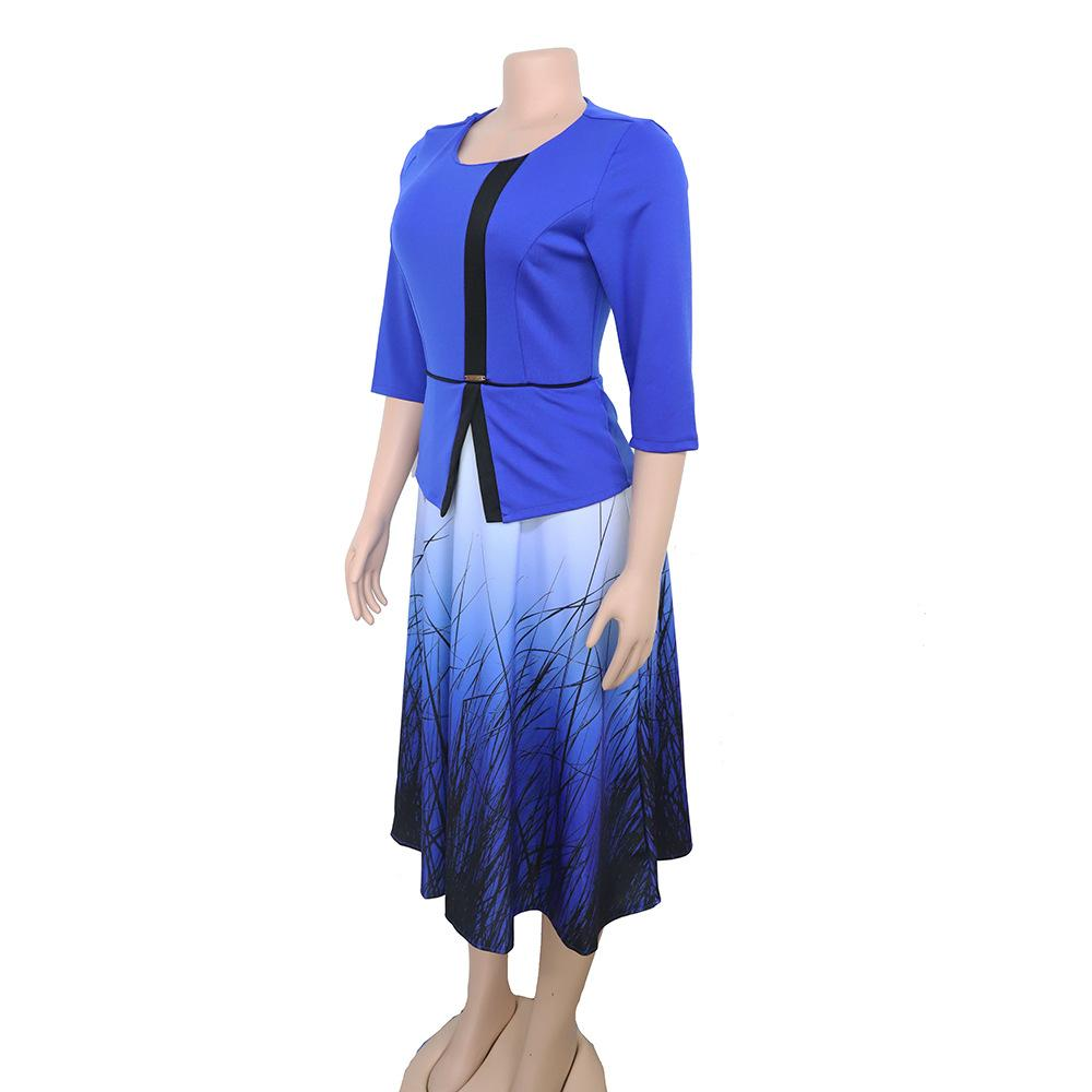 Elegent Fashion Style Printing Plus Size Dress L-3XL