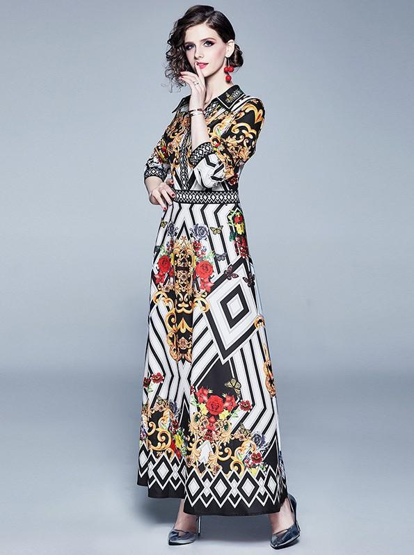 Vintage Print Long Sleeve Skirt Slim Dress