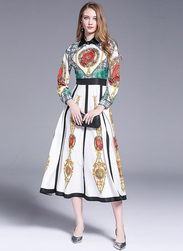 Floral Printed Long-sleeve Midi Dress