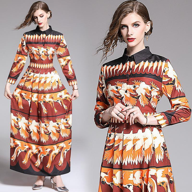 Floral Print Long Sleeves Winter Dress