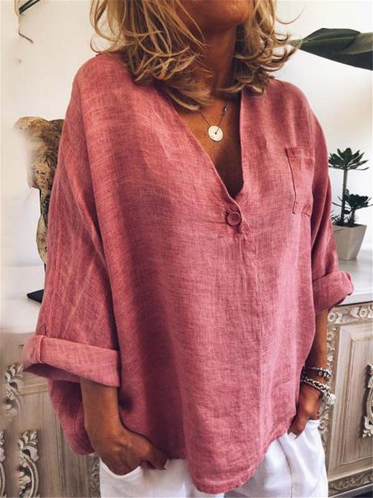 V Neck Long Sleeves Casual Blouses