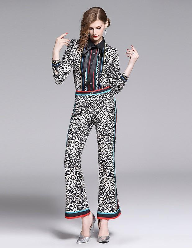 Lapel Long Sleeve Leopard Print + Flared Trousers
