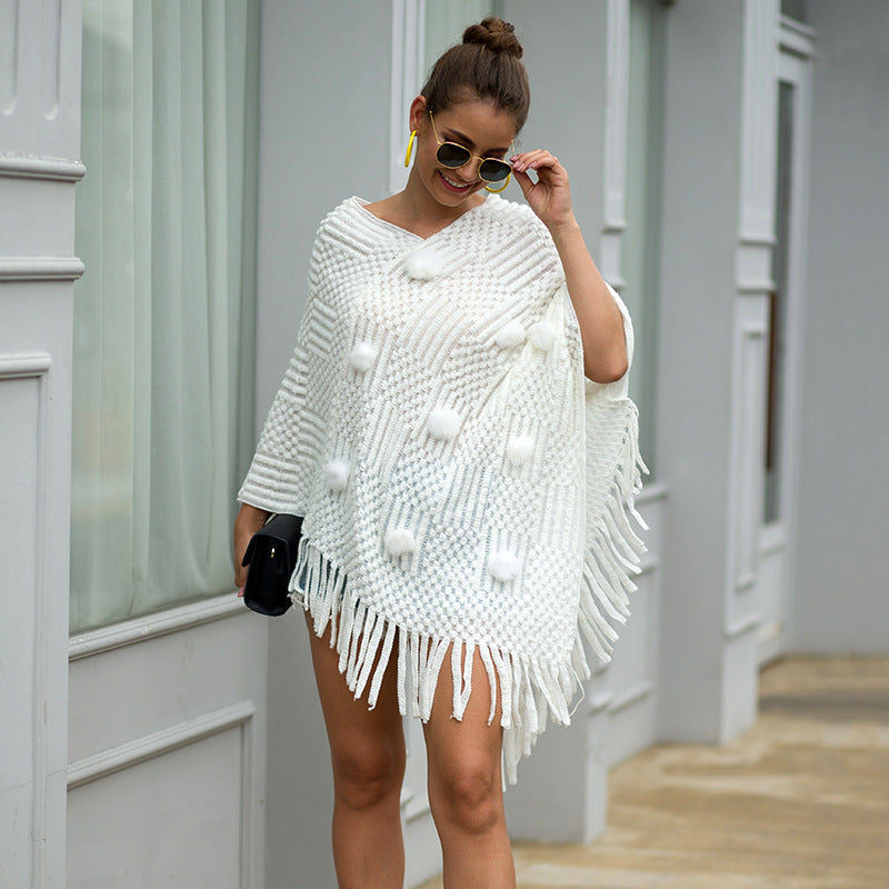 Fringed Cloak Shawl Wrap Solid Color Sweater