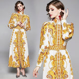 Fashion Printed Lapels Single-breasted Long Dress