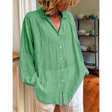Casual Long Sleeve Pleated Blouses