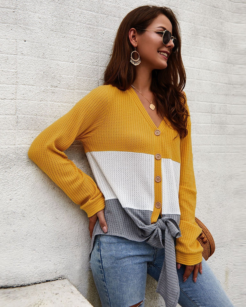 Three-color V-neck stitching long-sleeved sweater top