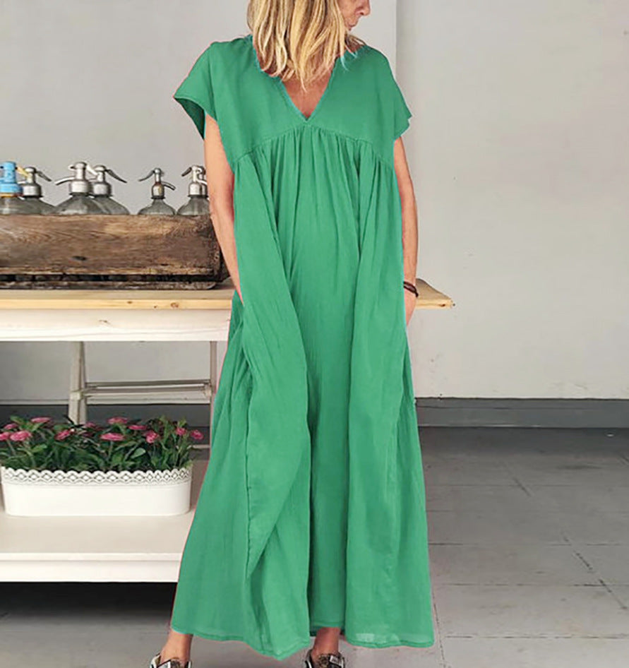 Summer V Neck Short Sleeve Maxi Dress
