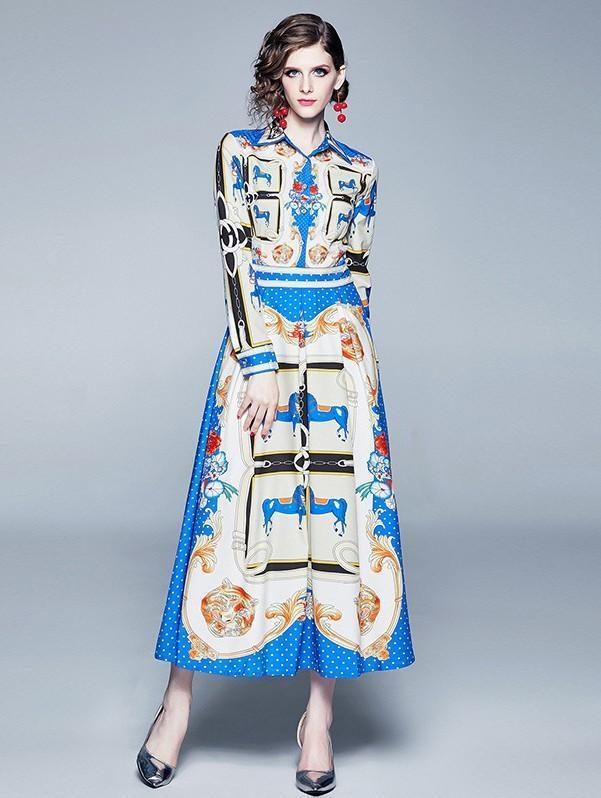 Retro Floral Print Long Sleeves Royal Court Dress