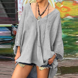 Casual V Neck Loose Long Sleeves Blouses