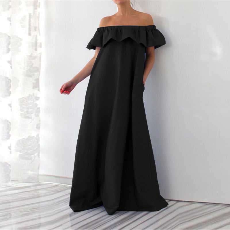 Off Shoulder Plus Size Ruffles Maxi Dress