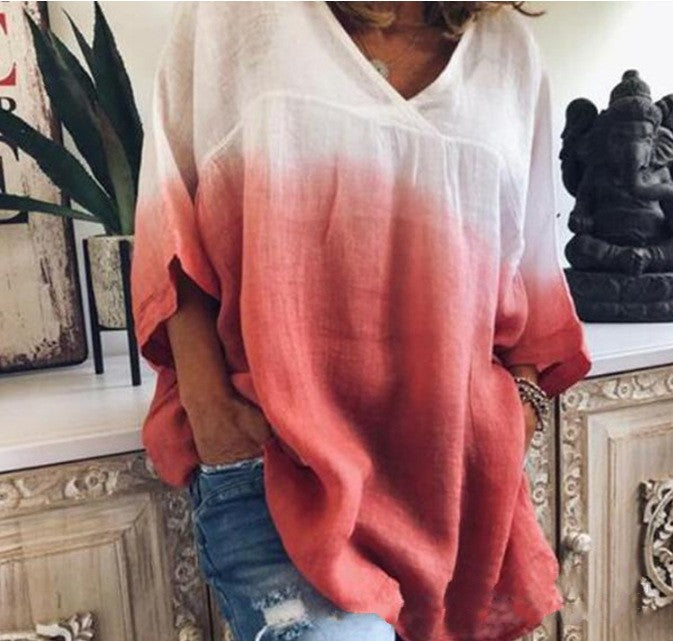 Gradient Color Print Fashion Loose Casual Sleeves T-shirt