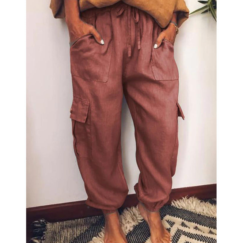 Casual Lace Up Cotton Pant with Pockets