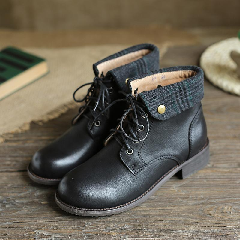 British style leather round head with retro Martin boots_black