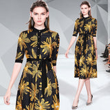 Fashion Printed Short Sleeves Mid-length Dress