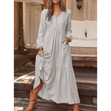 Retro Long Sleeves V Neck Boho Cotton Linen Maxi Dress