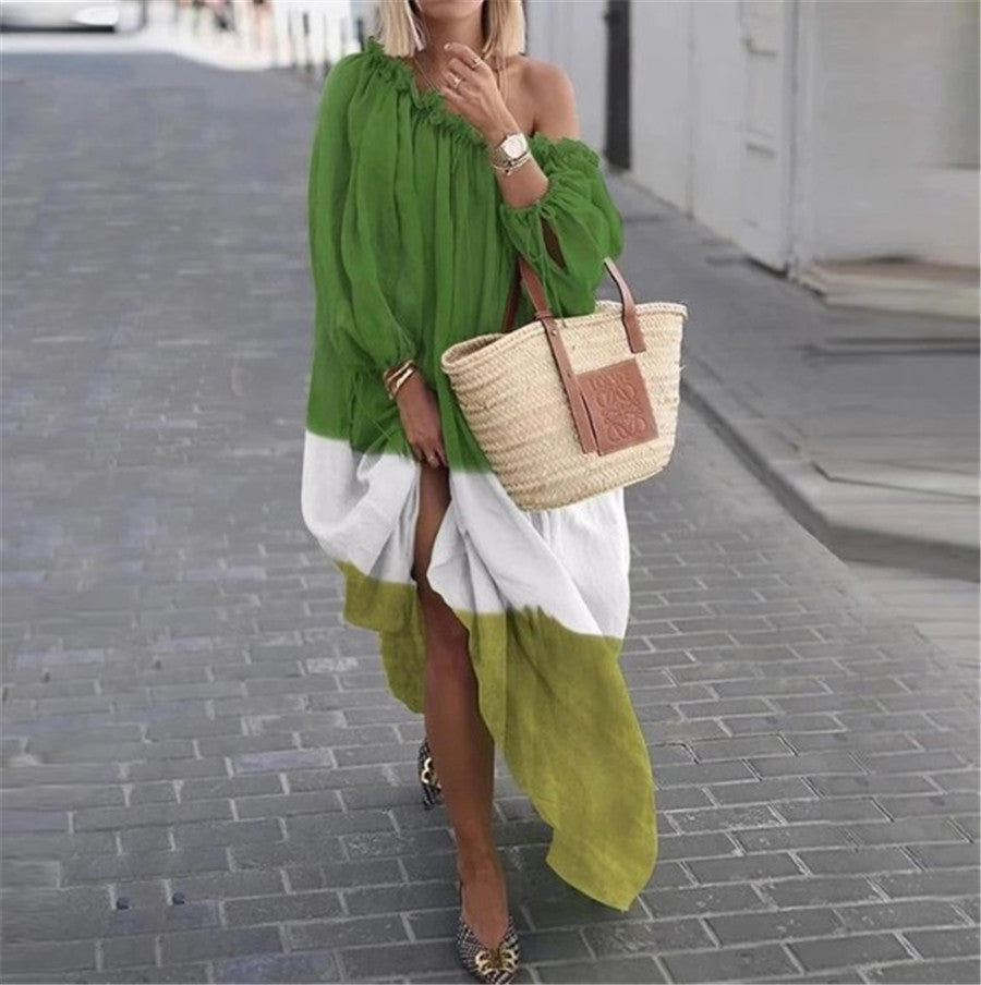 Off Shoulder Loose Casual Long Sleeves Dress