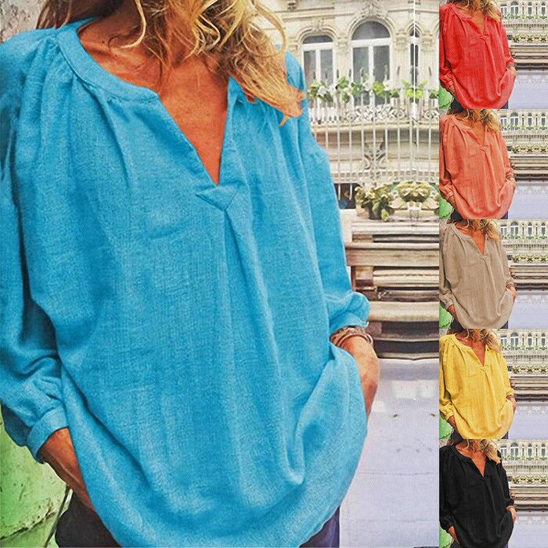 Loose V Neck Long Sleeves Blouses