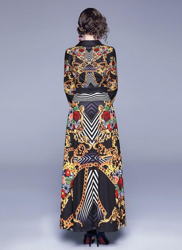 Retro Print V-neck Slim Long Dress