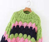 Colorblock thick knit sweater