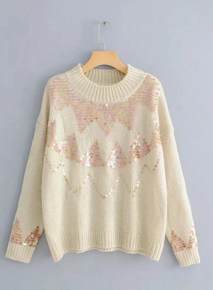 Vintage Sequined Crew Neck Sweater