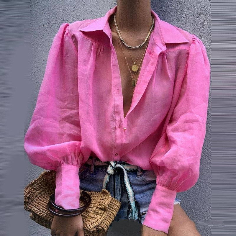 Simple Loose Lantern Sleeves Women Shirt