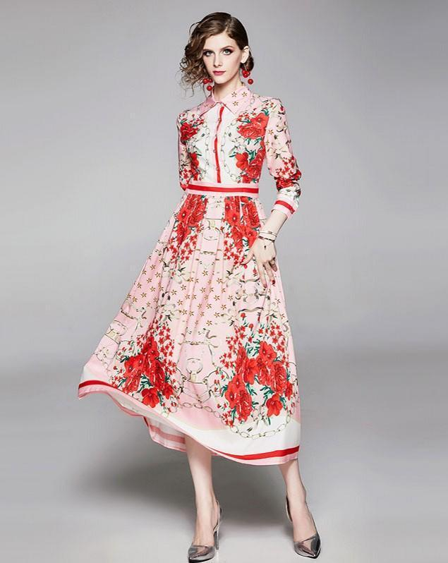 Retro Floral Print Long Sleeve Court Dress