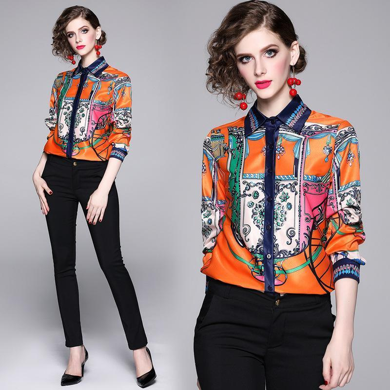 Lapel Long Sleeve Fashion Printed Shirt