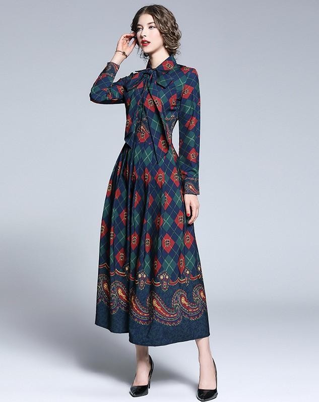 Plaid Print Ladies Fashion New Lace Up Long Dress