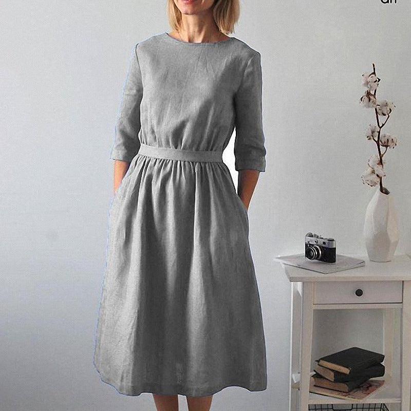 Solid Color Round Neck Fall Midi Dress
